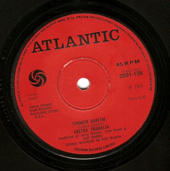 ARETHA FRANKLIN Spanish Harlem Vinyl Record 7 Inch Atlantic 1971
